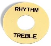 PARTS PLANET LPSWIBK Piastra selettore tipo LP - Crema con scritta Rhythm/Treble