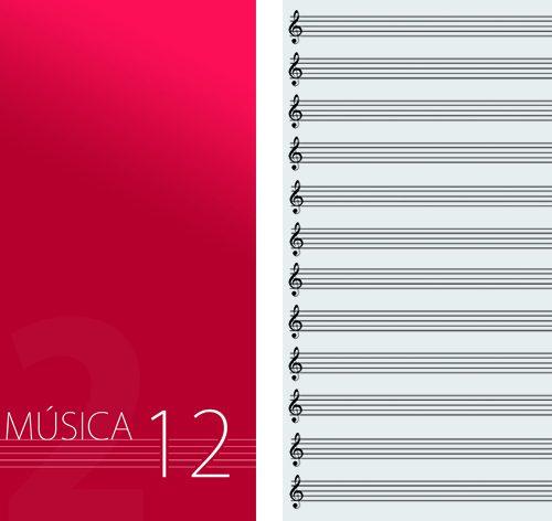 OQAN QUADERNO PENTAGRAMMATO MUSICA 12 ROSSO