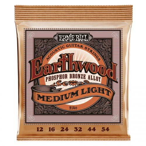 Ernie Ball muta di corde 2146 Earthwood Phosphor Bronze Medium Light 12-54