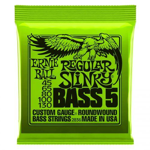Ernie Ball muta di corde 2836 Nickel Wound 5 corde Regular Slinky 45-130