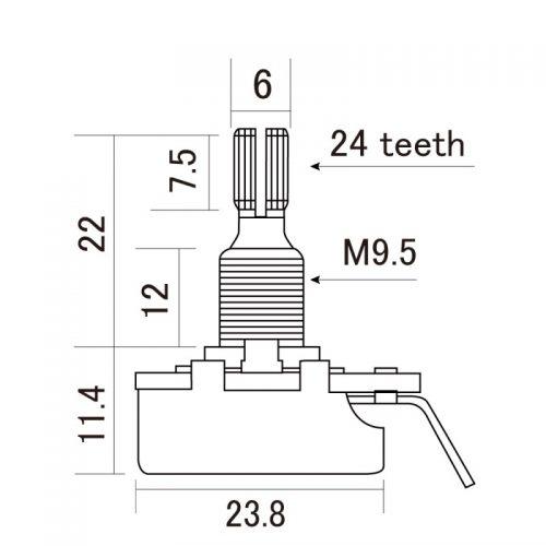 CTS POTENZIOMETRO LOGARITMICO A250K REGULAR SHAFT
