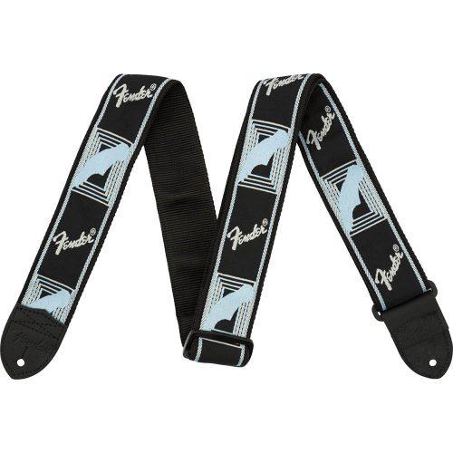 "Fender Fender 2"" Monogrammed Strap, Black/Light Grey/Blue"
