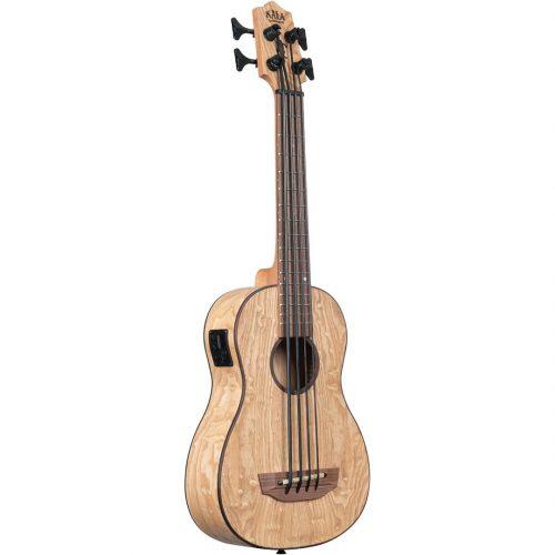 Kala UBASS basso ukulele Burled Tamo Ash elettrificato con borsa