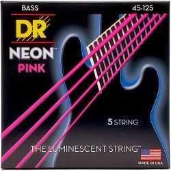 DR CORDE PER BASSO 5 CORDE NEON PINK 45 125 NPB545